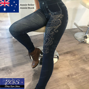 Blue Denim Fitness Fashion Tights Stylish Activewear Jeggings - Bling Gym Skins