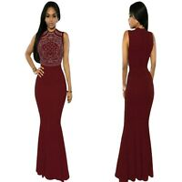 Sz M 10 12 Sleeveless Red Formal Cocktail Party Wedding Gown Evening Long Dress