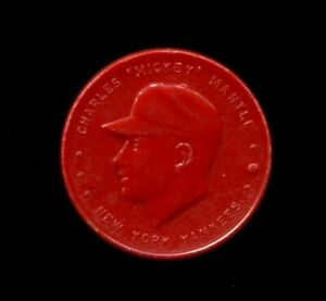 """1955 MICKEY MANTLE ARMOUR COINS RED """"CORRECT SPELLING"""" YANKEES *8693"""