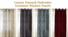 Hollender Chain Stitch Flocked Faux Silk Grommet-top, 84-inch Long Curtain Panel