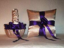 Champagne Satin / Regency Purple Trim Flower Girl Basket & Ring Bearer Pillow