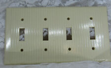 Vintage LEVITON Cream Bakelite Ribbed Deco 4 toggle Switchplate Cover