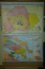 VINTAGE Pull Down School Map -  Athens, Boeotia Attica Alexandria Syracuse