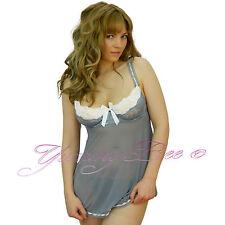 Yummy Bee Nightdress Sexy Lace Lingerie Babydoll Dress Plus Size 8-24 Sheer