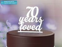 """""""70 Years Loved"""" White - 70th Birthday Cake Topper - Made by OriginalCakeToppers"""