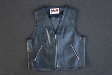 Vintage 90s Schott NYC Leather Motorcycle Vest Size S M Made in USA Black Moto