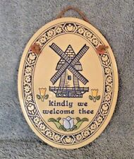 TRINITY POTTERY Wall Plaque Blue Dutch Windmill Tulips kindly welcome thee USA