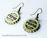 Pepsi Cola Bottle Cap Earrings VINTAGE 3D Brass Bronze Drop Dangle Metal Jewelry