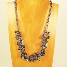 """20"""" Metallic Silver Stone Shell Chip Handmade Seed Bead Necklace FREE SHIPPING!"""