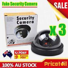 3X Wireless Fake CCTV Dome Dummy Camera Security Surveillance Flashing LED Light