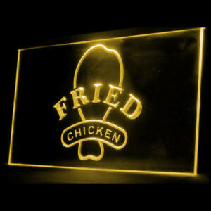 110072 OPEN Fried Chicken Fast Food Shop Display LED Light Sign