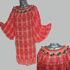 MONSOON Red Embroidered Embellished Kimono Sleeve Tunic Dress M Formal Casual