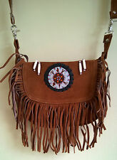 Native Western Style Suede Leather Beaded Shoulder Bag Fringed Brown