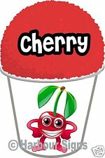 "(2) Cherry Shaved Shave Ice Snow Cone Decal 7"" Concession Food Vinyl Sticker"