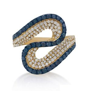 925 Silver 1.09 Ct Round Natural Blue White Diamond Cocktail Ring Gold Plated