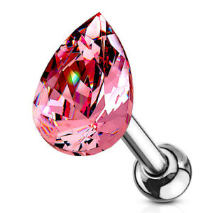 """1pc Tear Drop Crystal Tragus Helix Cartilage Ring 16g 1/4"""" - choose your color"""