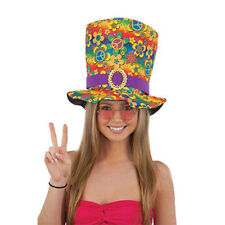Hippie Tall Top Hat Peace Sign Mad Hatter 60s Adult Costume Accessory Cap