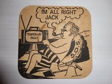 Beer drinks mats drip coaster I'M ALL RIGHT JACK Harold Wilson Private Eye 1970s