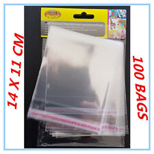 100 X PEEL AND SEAL CLEAR SHINY CELLOPHANE BAGS PARTY BIRTHDAY GIFT PACKAGE