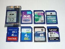 JOB LOT 8 x SD Memory Cards. 4GB 2GB 1GB 32MB 256MB 128MB  #7892