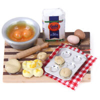 1:12 Dollhouse Miniature Kitchen Food Eggs Milk Bread on Board Dollhouse Deco-KT