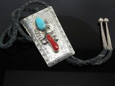 Vintage Navajo Blue Turquoise Coral Gemstone Sterling Large Bolo Tie Necklace