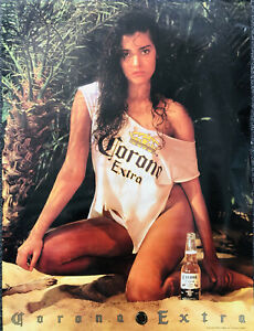 Vintage 90's CORONA Extra Beer Sexy Girl Promo Store Poster Bar Man Cave 24x18