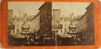 Italia Emilia Bologna Fuente Neptuno Aprox 1870 Estatua Foto Estéreo Dañado