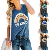 Women Be Kind Rainbow Graphics Vest Tee Shirt Sleeveless Camisole Tank Top