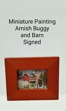 """Miniature Painting RURAL AMISH BUGGY & BARN signed WILLIAM M KOCH 2"""" x 1.5"""""""