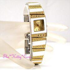 Omax Mujer En Blanco Esmalte Chapado De Oro Marca Suiza Reloj