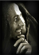 "Bob Marley Hand on Chin Black & White Canvas Print Art Poster Wall Decor 8""x10"""