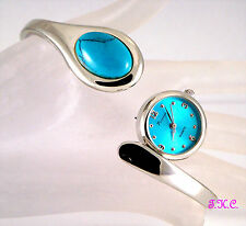 Silver Semi Precious Turquoise Snake Serpent Ladies Slider Bracelet Bangle Watch