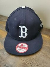 Boston Red Sox B New Era 9FORTY MLB The League Leather Strapper Hat Cap Flat Bil