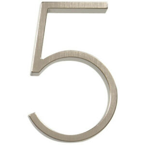 "Hillman Modern 5"" Floating or Flush Mount House Address Numbers Satin Nickel"