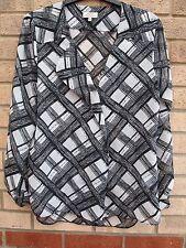 PAPAYA WHITE BLACK ABSTRACT CHECKED BUTTONED BAGGY TUNIC KIMONO CAMI COAT 14 L