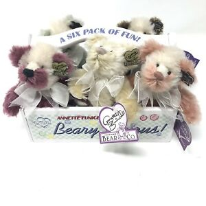 """Annette Funicello Beary 'Licious Collection 6"""" Mohair bears w/ Carrier MISSING 1"""