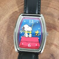 Collectible Peanuts Snoopy & Woodstock Watch Blue & Red Rectangular Face