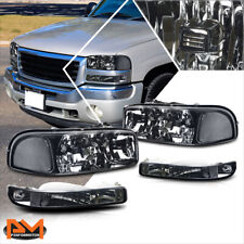 For 99-07 Sierra/Yukon Gmt800 Smoked Housing Bumper Headlight Clear Corner Lamps