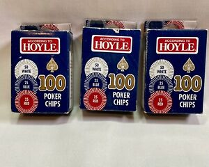 LOT OF  3 BOXES - 2003 According to Hoyle- 100 Poker Chips New Old Stock