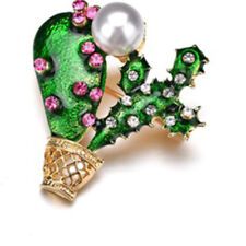 Brooch Pin Clothes Accessories Gift Novelty Lady Rhinestone Cactus Shaped Enamel