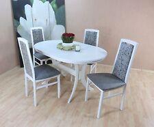 Essgruppe 5-tlg. Auszugtisch oval Stühle Esstisch Farbe: Weiß/Graphit