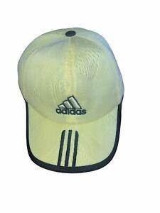 Adidas Running Biking Slouch Cap Adjustable Back Vented Yellow Black Trim