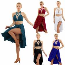 Women Girls Modern Ballet Lyrical Dance Dress Outfit Gymnastic Dancewear Costume