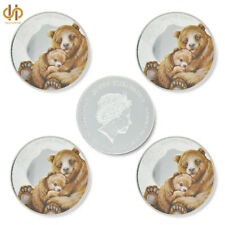 5PCS Queen Elizabeth II Tuvalu Animal Brown Bear Silver Challenge Coin