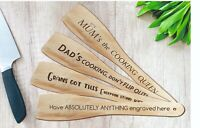 Personalised custom engraved wooden SPATULA cooking utensil for non stick Tefal