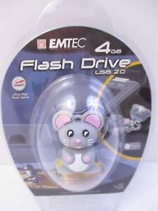 EMTEC - 4 GB USB 2.0 FLASH DRIVE - MOUSE ANIMAL - NEW UNOPENED UNUSED