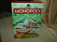 MONOPOLY HASBRO GRAB & GO  BOARD GAME FOR 2-4 PLAYERS AGES: 8+: NEW IN BOX