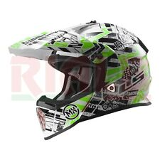 Casco Cross per Moto MX LS2 MX437 FAST GLITCH - bianco/nero/verde - Taglia L