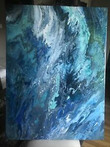 Acrylic pour painting on canvas